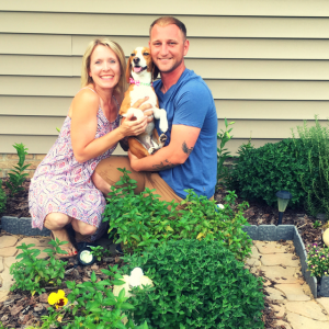 Wendi Iacobello with her husband and dog
