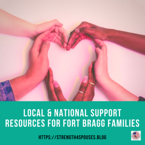 """multiple different skin colored hands forming a heart with the caption """"Local & National Support Resources for Fort Bragg Families"""""""