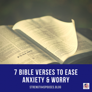 """a page of The Bible with the caption """"7 Bible Verses to Ease Anxiety & Worry"""""""