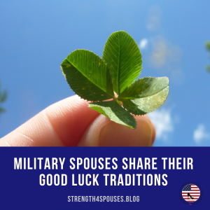 """two fingers holding a plant with the caption """"military spouses share their good luck traditions"""""""
