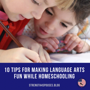 """two children writing something down with the caption """"10 tips for making language arts fun while homeschooling"""""""