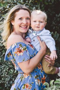 a headshot of the author Wendi Iacobello and her son