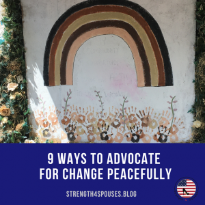 """a pillow with a rainbow on it with the caption """"9 ways to advocate for change peacefully"""""""