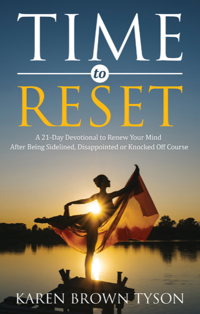 """The cover of the book """"Time to Reset"""". A woman in a dress stretching across a lake."""
