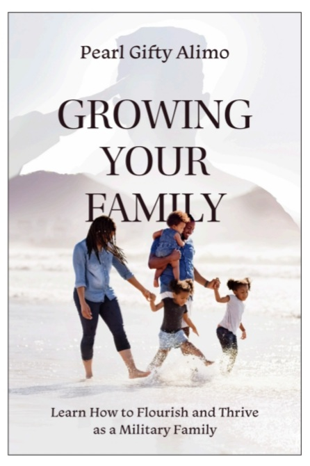 """The cover of the book """"Growing Your Family"""" It pictures a woman, a man, and two kids walking along the beach."""